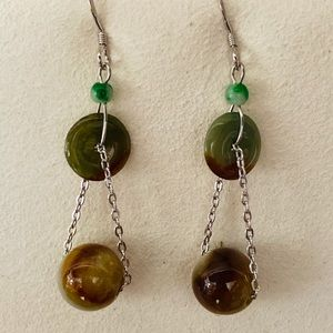 Hand made jade earrings
